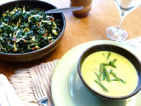 Asparagus soup and kale salad