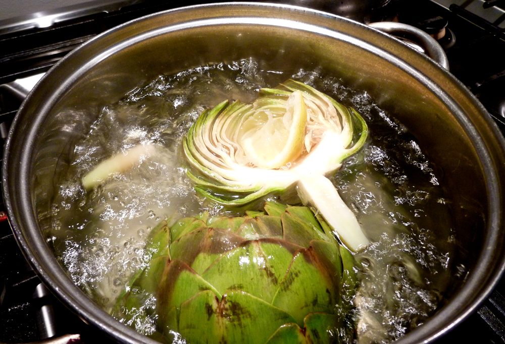 boiling artichoke