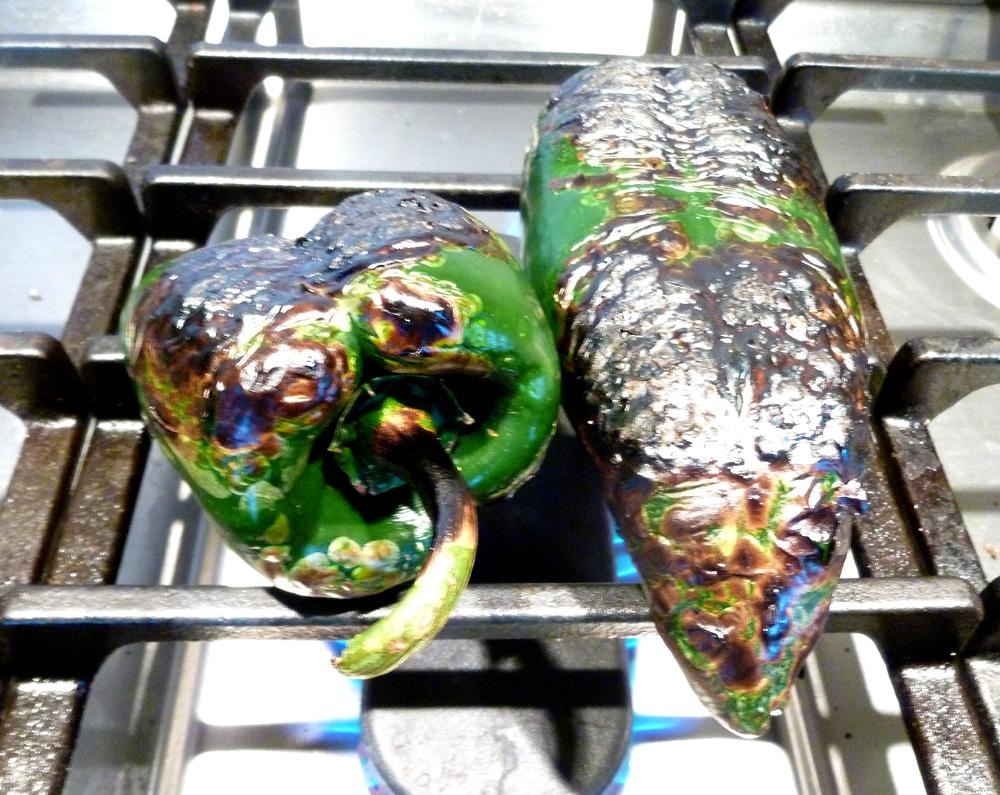 roasting poblanos